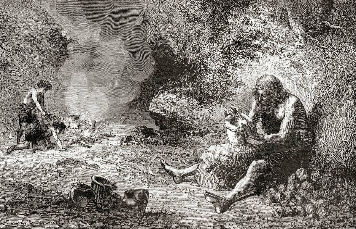 A potter at work during the Neolithic Age, New Stone Age or Age of the  Polished Stone  From L'Homme Primitif, published 1870  stock photo