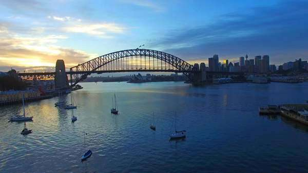 Aerial footage at Sydney Harbour Bridge during sunrise Royalty-free stock video