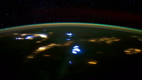 Timelapse of International Space Station ISS from North America to South Atlantic Ocean. Created from Public Domain images, courtesy of NASA JSC. Royalty-free stock video