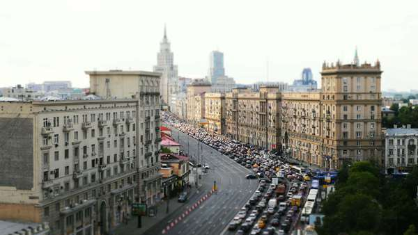 Moscow, Sadovoe street with lots of cars Royalty-free stock video
