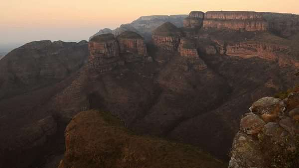 Panning shot of blyde river canyon in South Africa national park Royalty-free stock video