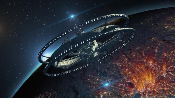 Alien spaceship, with triple gravitational rings and a central telecomunication structure, in interstellar deep space travel, for futuristic or fantasy backgrounds. Royalty-free stock video