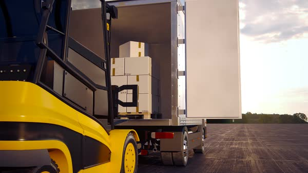 Panning Of Forklift Unloading Stack Of Boxes In A Delivery Truck Royalty-free stock video