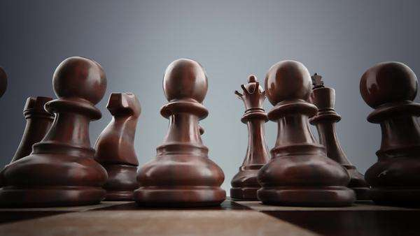 Close-up of wooden chess pieces on chessboard Royalty-free stock video