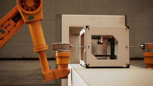 Robotic arm assembling 3D printer on conveyor belt Royalty-free stock video