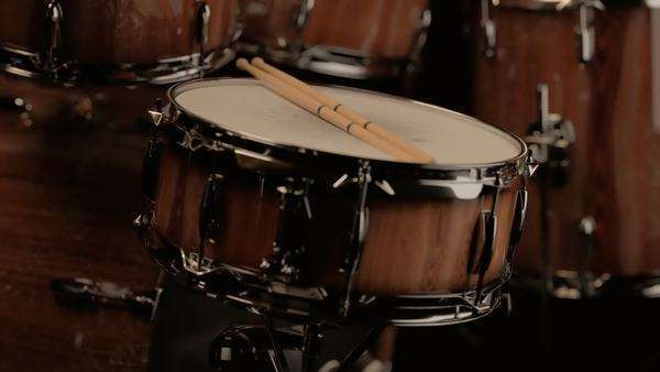 Close-up of drum sticks resting on snare drum Royalty-free stock video