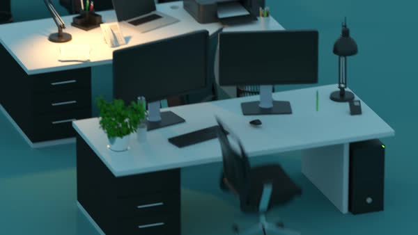 of modern office desk against colored background royaltyfree stock video