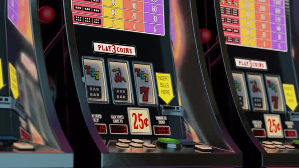 Loopable shot of slot machines in a row Royalty-free stock video