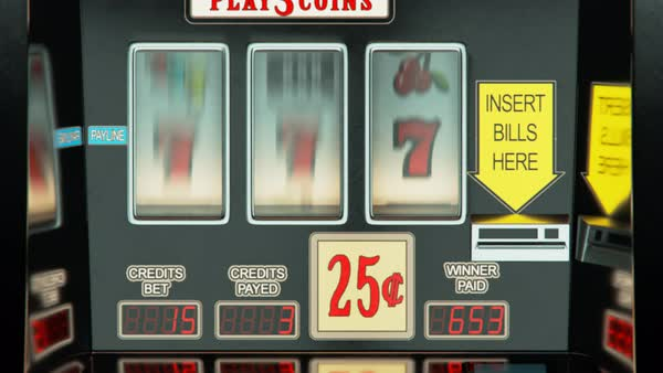 Loopable closeup shot of slot machines in a row Royalty-free stock video