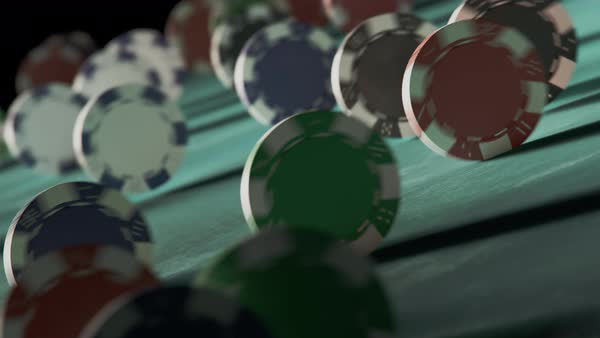 Casino chips rolling down the ramp Royalty-free stock video