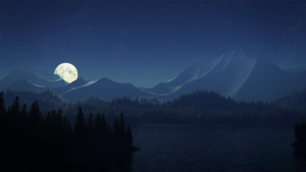Animated shot of full moon over a mountain lake Royalty-free stock video