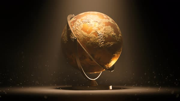 Shiny golden globe rotating at dark background with dust particles. Royalty-free stock video