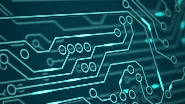 Animation of circuit board with data transfer going to bitcoin sign. Royalty-free stock video