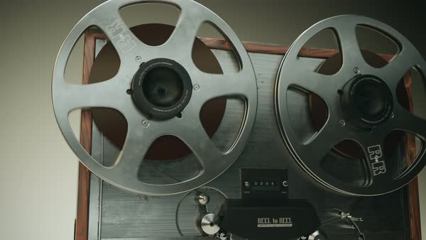 Front cam showing reel-to-reel magnetic tape recorder Royalty-free stock video