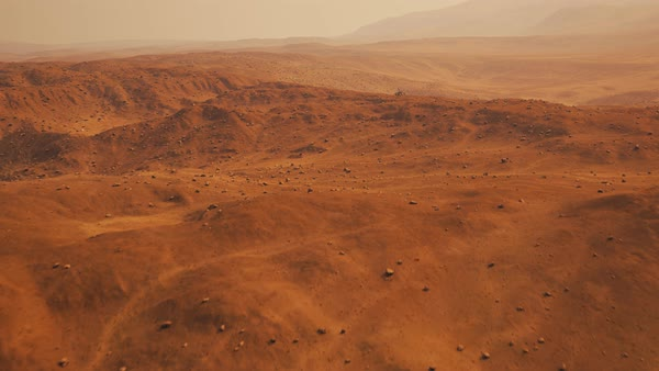 Camera fly above marsian surface showing rover travelling Royalty-free stock video