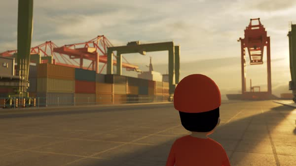 Animation of a worker in busy maritime container terminal Royalty-free stock video