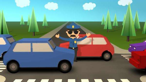 Police Officer Waving Traffic On Busy Road Royalty-free stock video