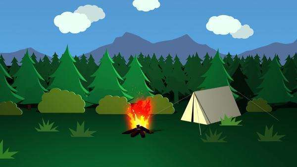 Continuous Bonfire Burning Day And Night In Front Of Tent Royalty-free stock video