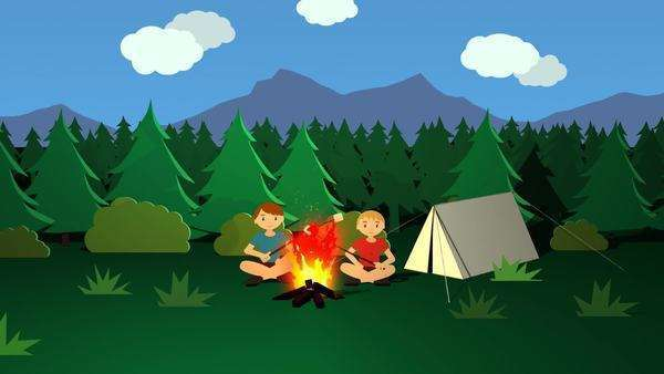 Campfire Kids Roasting Sticks With Marshmallows In Front Of The Tent. Royalty-free stock video