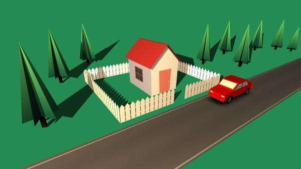 Timelapse Footage Of A Car Parked Outside The House With Wooden Fence Royalty-free stock video