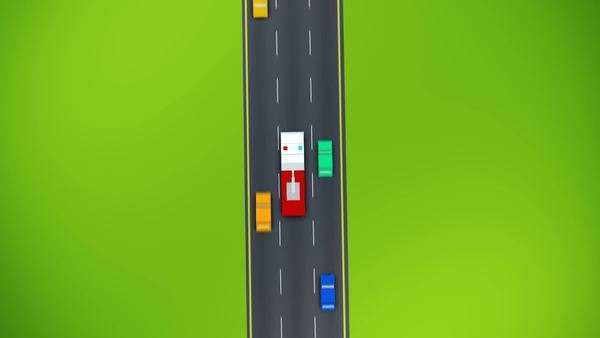 Top View Of Fire Truck On Busy Road Royalty-free stock video