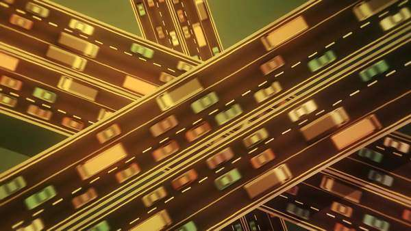 Sepia toned animation looking straight down over three busy highways crossing each other. Royalty-free stock video
