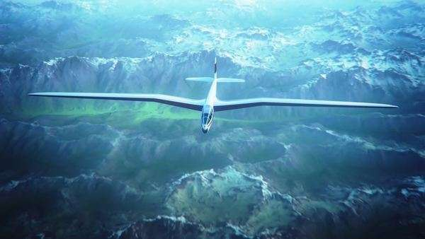 Blue and white monochrome animation of a sailplane soaring over snow covered mountains. Royalty-free stock video