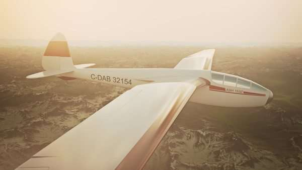 Sepia toned animation of a sailplane soaring over snow covered mountains. Royalty-free stock video