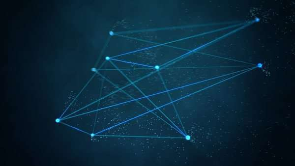 Abstract technology background. Blue glowing geometric shape moving with particles. Network connection concept Royalty-free stock video