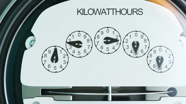 Typical residential analog electric meter with transparent plastic case showing household consumption in kilowatt hours Royalty-free stock video