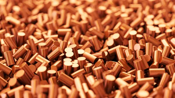 Close-up of pure copper cylindrical pieces in a pile Royalty-free stock video