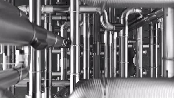 Loopable animation of camera moving over the maze of shiny pipes connected Royalty-free stock video