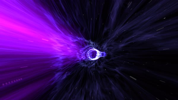 Journey through the warp tunnel with galaxy at the end Royalty-free stock video