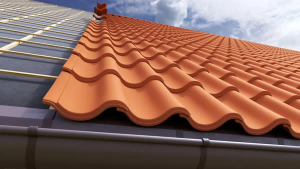Loopable animation of clay tile roof being gradually built. Camera moves slowly to the side. Royalty-free stock video