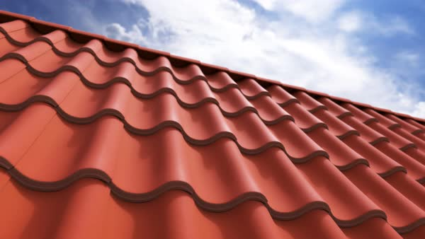 Loopable animation of clay tiled roof. Camera moves slowly to the side. Royalty-free stock video