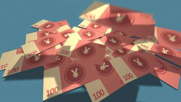 Growing Pile Of Hundred Chinese Yuan Notes Royalty-free stock video