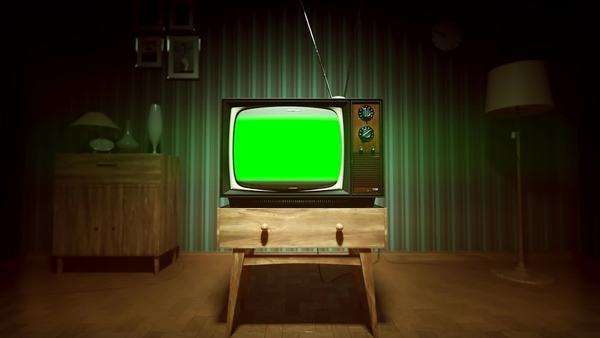 Authentic Static On Old Fashioned TV Screen At Home Green Screen Royalty-free stock video
