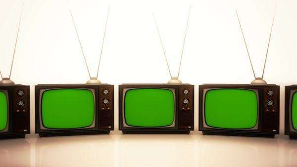 Exhibition Of Old Retro Color TV Sets With Antenna Royalty-free stock video