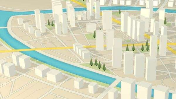 3D View of abstract city map. GPS navigation Skyscrapers cityscape urban mapping Royalty-free stock video