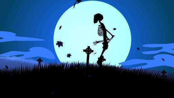 Silhouette Of Human Skeletons Walking In Spooky Graveyard At Halloween Night Royalty-free stock video