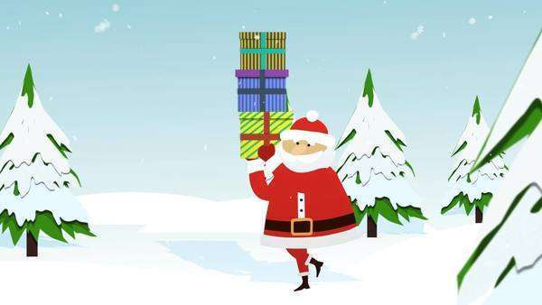 Santa Claus Carrying Gift Boxes And Reindeers Running On Snowy Landscape In Winter Royalty-free stock video