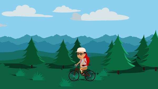 Tourist With Backpack Travelling On Bicycle In Forest Royalty-free stock video