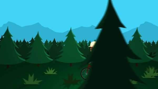 Man With Backpack Riding Bicycle In Forest Royalty-free stock video