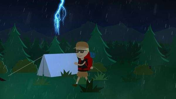 Tourist Walking In Front Of Tent In Forest During Monsoon Royalty-free stock video