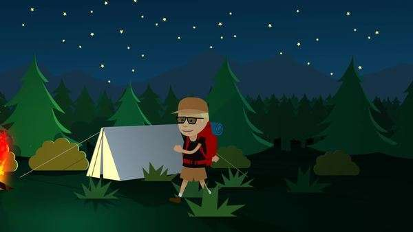 Tourist Walking In Front Of Tent And Bonfire In Forest Royalty-free stock video