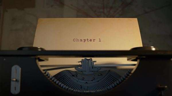 Chapter 1 Written On An Old Typewriter On Desk Royalty-free stock video