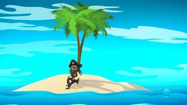 Pirate Resting Under Palm Tree On Island Royalty-free stock video