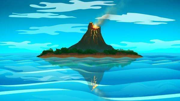 Volcanic Island Surrounded With Ocean Royalty-free stock video