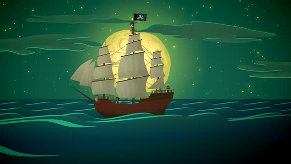 Pirate Ship Rowing In Sea At Night Royalty-free stock video
