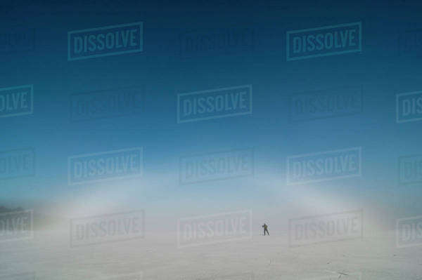 Person on ice rink on a cold winter day Royalty-free stock photo